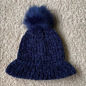 Brand new navy blue winter pom pom puff ball hat